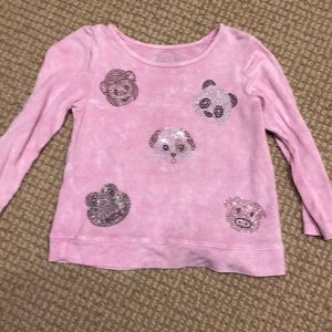 Rock Candy pink long slv T-shirt w crystal animals
